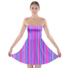 Blue And Pink Stripes Strapless Bra Top Dress