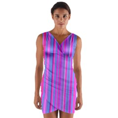 Blue And Pink Stripes Wrap Front Bodycon Dress