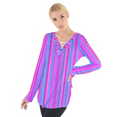 Blue And Pink Stripes Women s Tie Up Tee