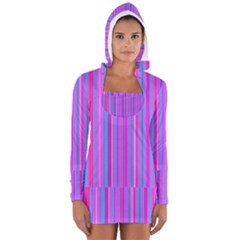 Blue And Pink Stripes Women s Long Sleeve Hooded T-shirt