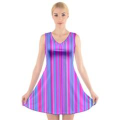 Blue And Pink Stripes V Neck Sleeveless Skater Dress