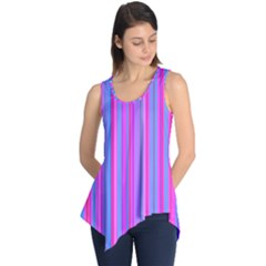 Blue And Pink Stripes Sleeveless Tunic