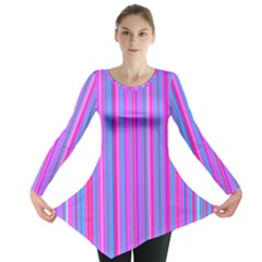 Blue And Pink Stripes Long Sleeve Tunic