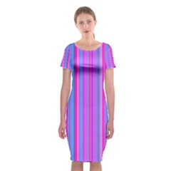 Blue And Pink Stripes Classic Short Sleeve Midi Dress