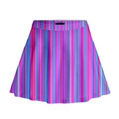 Blue And Pink Stripes Mini Flare Skirt