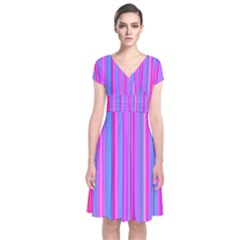 Blue And Pink Stripes Short Sleeve Front Wrap Dress