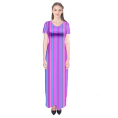 Blue And Pink Stripes Short Sleeve Maxi Dress