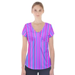 Blue And Pink Stripes Short Sleeve Front Detail Top