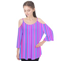 Blue And Pink Stripes Flutter Tees