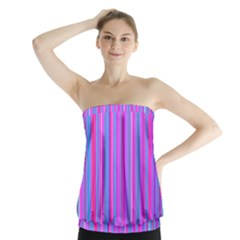 Blue And Pink Stripes Strapless Top