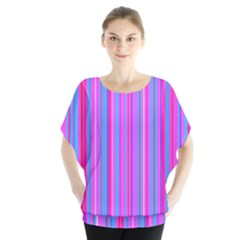 Blue And Pink Stripes Blouse