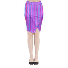 Blue And Pink Stripes Midi Wrap Pencil Skirt