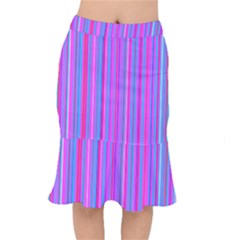Blue And Pink Stripes Mermaid Skirt