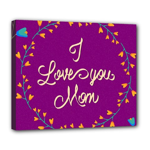Happy Mothers Day Celebration I Love You Mom Deluxe Canvas 24  x 20