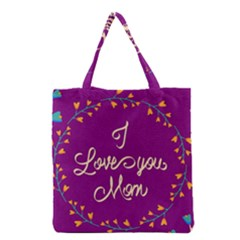 Happy Mothers Day Celebration I Love You Mom Grocery Tote Bag