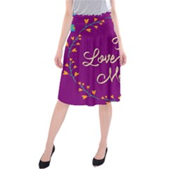 Happy Mothers Day Celebration I Love You Mom Midi Beach Skirt