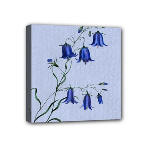 Floral Blue Bluebell Flowers Watercolor Painting Mini Canvas 4  X 4