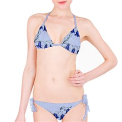 Floral Blue Bluebell Flowers Watercolor Painting Bikini Set