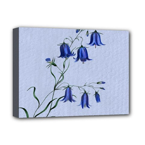 Floral Blue Bluebell Flowers Watercolor Painting Deluxe Canvas 16  x 12