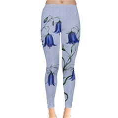 Floral Blue Bluebell Flowers Watercolor Painting Leggings