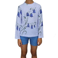 Floral Blue Bluebell Flowers Watercolor Painting Kids  Long Sleeve Swimwear