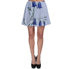Floral Blue Bluebell Flowers Watercolor Painting Skater Skirt