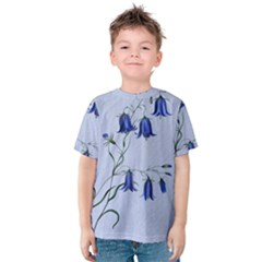 Floral Blue Bluebell Flowers Watercolor Painting Kids  Cotton Tee
