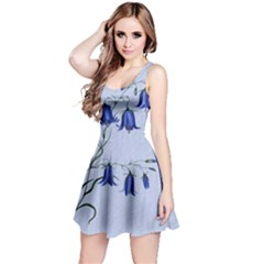 Floral Blue Bluebell Flowers Watercolor Painting Reversible Sleeveless Dress