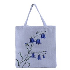 Floral Blue Bluebell Flowers Watercolor Painting Grocery Tote Bag