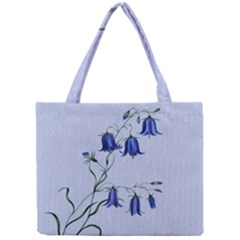 Floral Blue Bluebell Flowers Watercolor Painting Mini Tote Bag