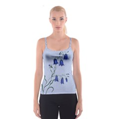 Floral Blue Bluebell Flowers Watercolor Painting Spaghetti Strap Top