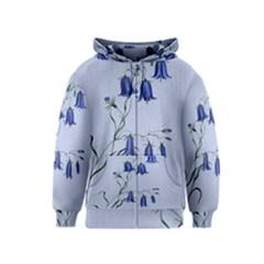 Floral Blue Bluebell Flowers Watercolor Painting Kids  Zipper Hoodie