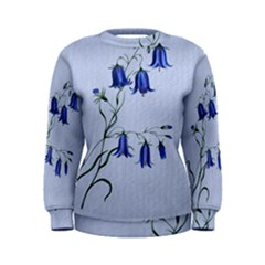Floral Blue Bluebell Flowers Watercolor Painting Women s Sweatshirt
