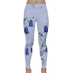Floral Blue Bluebell Flowers Watercolor Painting Classic Yoga Leggings