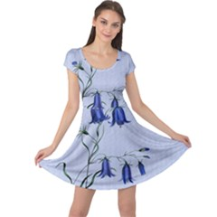 Floral Blue Bluebell Flowers Watercolor Painting Cap Sleeve Dresses