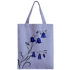 Floral Blue Bluebell Flowers Watercolor Painting Zipper Classic Tote Bag