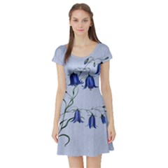 Floral Blue Bluebell Flowers Watercolor Painting Short Sleeve Skater Dress