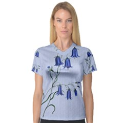 Floral Blue Bluebell Flowers Watercolor Painting Women s V-Neck Sport Mesh Tee
