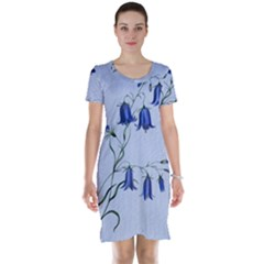 Floral Blue Bluebell Flowers Watercolor Painting Short Sleeve Nightdress