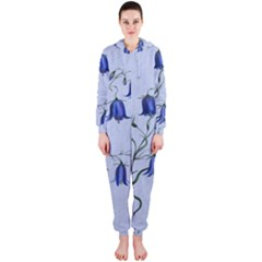 Floral Blue Bluebell Flowers Watercolor Painting Hooded Jumpsuit (ladies)