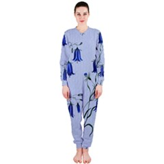 Floral Blue Bluebell Flowers Watercolor Painting OnePiece Jumpsuit (Ladies)