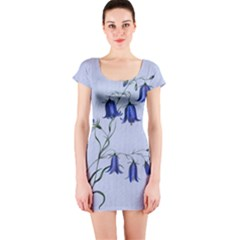 Floral Blue Bluebell Flowers Watercolor Painting Short Sleeve Bodycon Dress