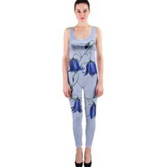 Floral Blue Bluebell Flowers Watercolor Painting OnePiece Catsuit