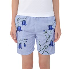 Floral Blue Bluebell Flowers Watercolor Painting Women s Basketball Shorts