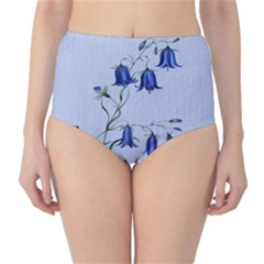 Floral Blue Bluebell Flowers Watercolor Painting High-Waist Bikini Bottoms