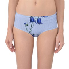 Floral Blue Bluebell Flowers Watercolor Painting Mid-Waist Bikini Bottoms