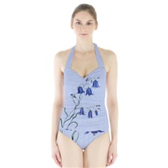 Floral Blue Bluebell Flowers Watercolor Painting Halter Swimsuit