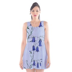 Floral Blue Bluebell Flowers Watercolor Painting Scoop Neck Skater Dress
