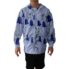 Floral Blue Bluebell Flowers Watercolor Painting Hooded Wind Breaker (Kids)