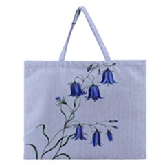 Floral Blue Bluebell Flowers Watercolor Painting Zipper Large Tote Bag